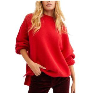 FREE PEOPLE Easy Street Red Oversized Sweater